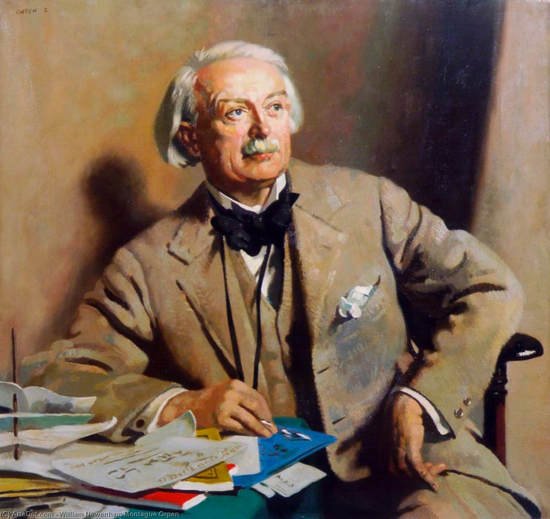 Portrait de la Rt . Hon . david lloyd george, huile sur toile de William Newenham Montague Orpen (1878-1931, Ireland)