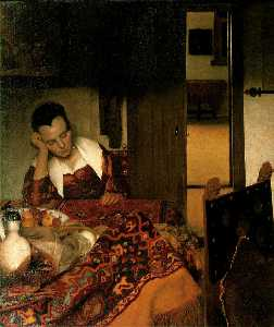 Jan Vermeer - Fille endormie à une tabl..