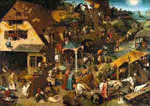 Pieter Bruegel The Elder - Les proverbes flamands