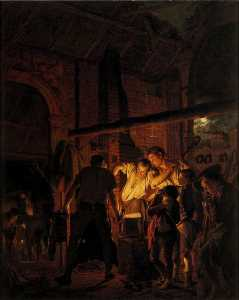 Joseph Wright Of Derby - Une Blacksmith-s Boutique