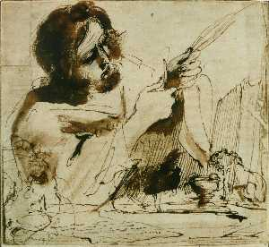 Guercino (Barbieri, Giovanni F.. - saint mark coupant son bec pou..