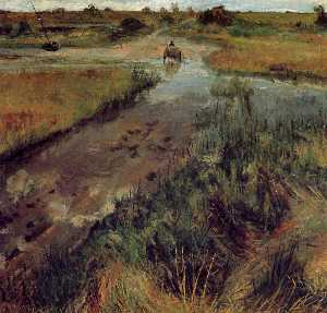 William Merritt Chase - Ruisseau gonflé à Shinnec..