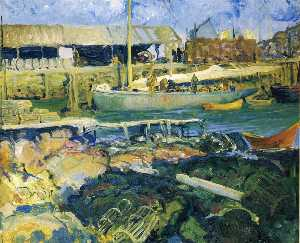 George Wesley Bellows - le poisson wharf , Matinicus Île