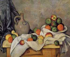 Paul Cezanne - rideau cruche  et  fruits..