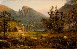 Jasper Francis Cropsey - Pioneer's Maison , aigle cliff..