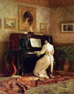 Theodore Clement Steele - fille au piano ( aussi co..