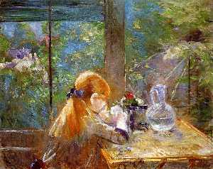Berthe Morisot - Red haired girl assis sur..