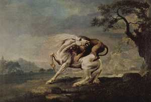 George Stubbs - lion attaquant un cheval