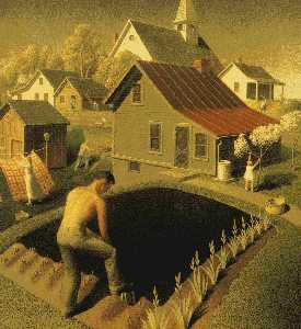 Grant Wood - printemps dans ville