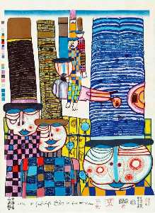 Friedensreich Hundertwasser - tennos fly with Les chapeaux