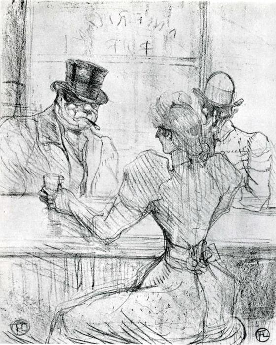 au bar picton , rue scribe, 1896 de Henri De Toulouse Lautrec (1864-1901, Second French Empire)
