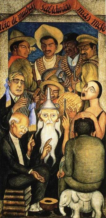 Le savant, fresques de Diego Rivera (1886-1957, Mexico)
