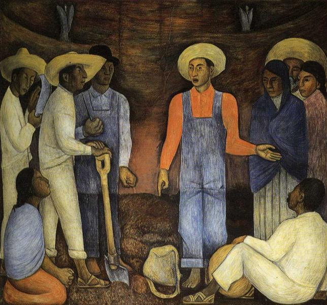 L Organisation deThe Mouvement agraire, fresques de Diego Rivera (1886-1957, Mexico)