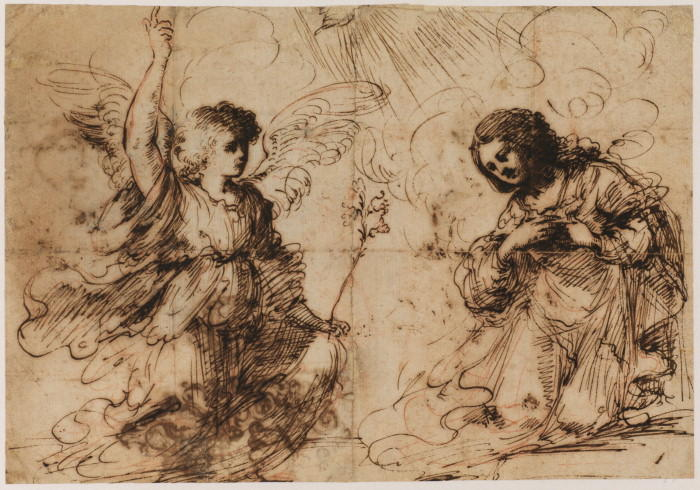Annonciation 1, dessin de Guercino (Barbieri, Giovanni Francesco) (1591-1666, Italy)