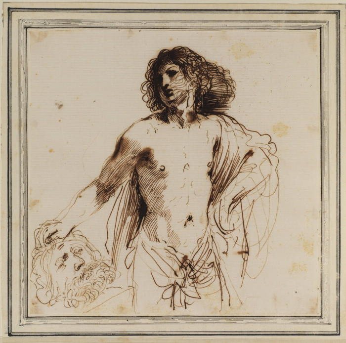 david avec l' chef des goliath 1  , dessin de Guercino (Barbieri, Giovanni Francesco) (1591-1666, Italy)