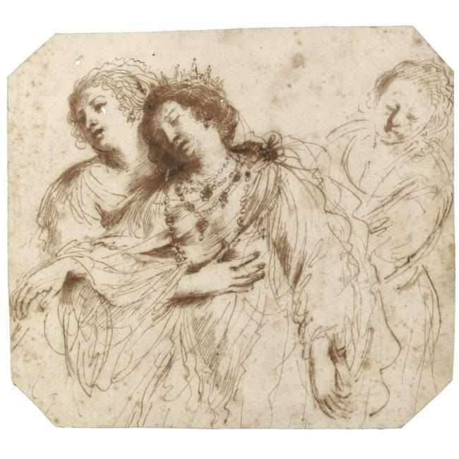 Esther soutenue par ses agents, dessin de Guercino (Barbieri, Giovanni Francesco) (1591-1666, Italy)