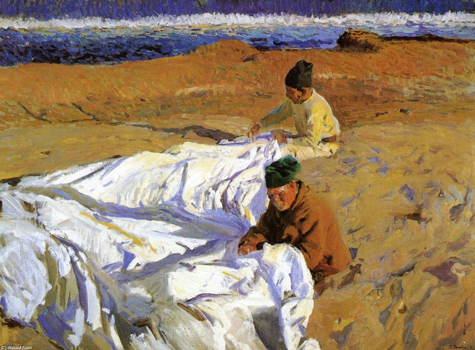 Mending the Sail 1, huile de Joaquin Sorolla Y Bastida (1863-1923, Spain)