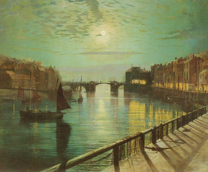 whitby harbour par clair de lune , Huile de John Atkinson Grimshaw (1836-1893, United Kingdom)