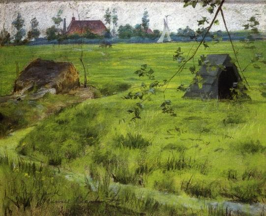 Une Fragment de hollande De prairies ( aka a bit of green en hollande ), Huile de William Merritt Chase (1849-1916, United States)