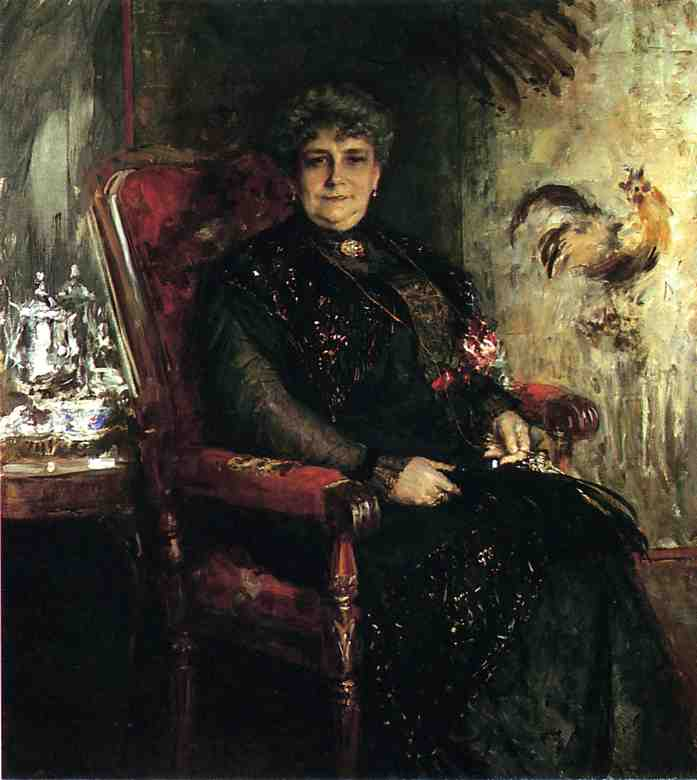 portrait de mme . E . H . Bensel, huile sur toile de William Merritt Chase (1849-1916, United States)