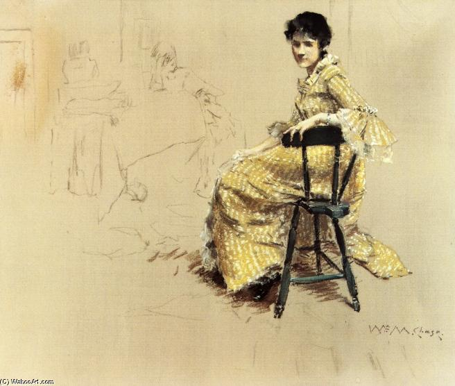 Femme assise en robe rayée Yello, pastel de William Merritt Chase (1849-1916, United States)