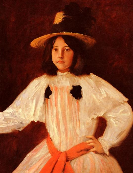 Le Red Sash, huile sur toile de William Merritt Chase (1849-1916, United States)