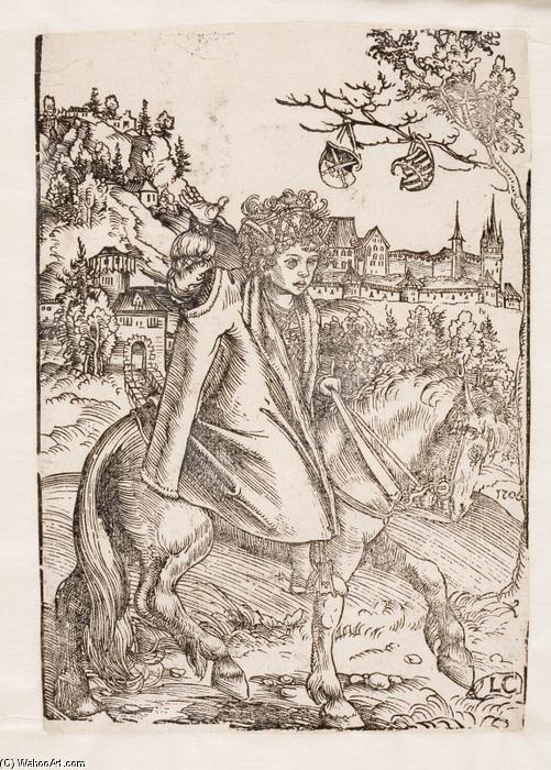 Un prince saxon à cheval, huile de Lucas Cranach The Elder (1472-1553, Germany)