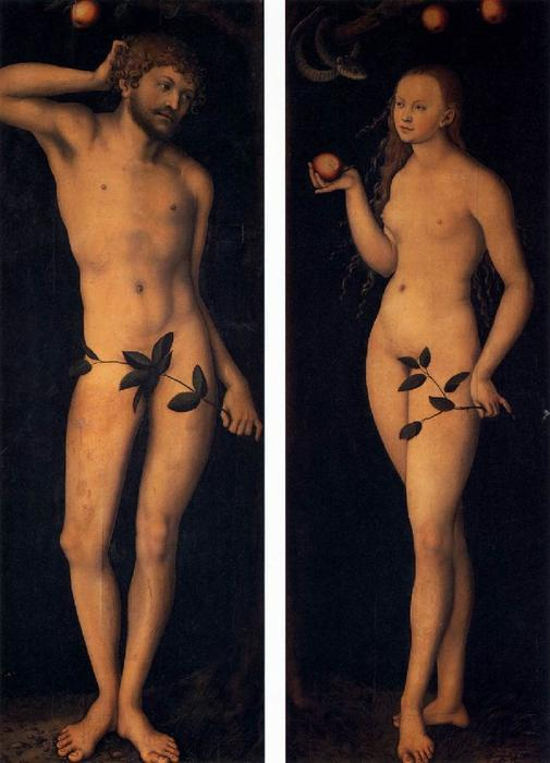 eve et adam, Huile de Lucas Cranach The Elder (1472-1553, Germany)