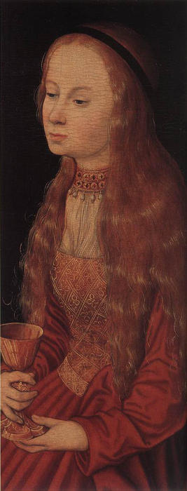 St. Barbara, huile de Lucas Cranach The Elder (1472-1553, Germany)