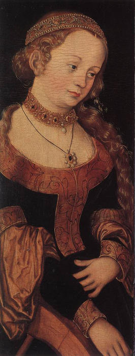 St . catherine d alexandrie, Huile de Lucas Cranach The Elder (1472-1553, Germany)