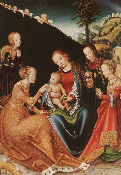 le mystic mariage de r . Catherine, 1516 de Lucas Cranach The Elder (1472-1553, Germany)
