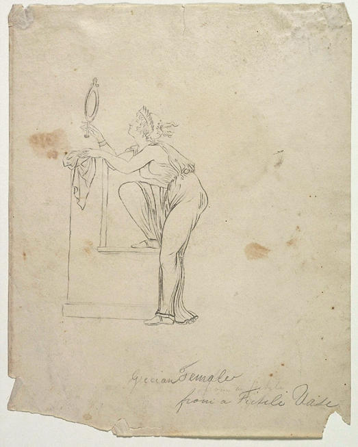 Femme grecque d un Vase fictile, aquarelle de Thomas Cole (1801-1848, United Kingdom)