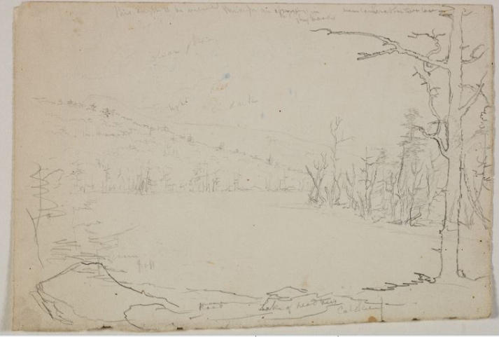 Lac of Mort Arbres , Catskil, gravure de Thomas Cole (1801-1848, United Kingdom)