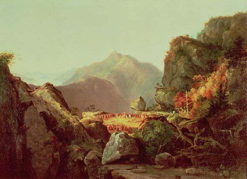 Scène de The Last of the Mohicans, huile de Thomas Cole (1801-1848, United Kingdom)