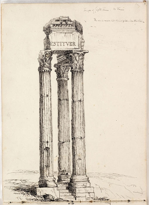 temple de vespasien , appelé le temple de jupiter tonnant de Thomas Cole (1801-1848, United Kingdom) | ArtsDot.com
