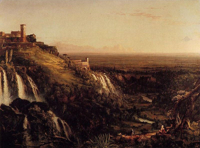 Le Cascatelli, Tivoli, en regardant vers Rome, huile de Thomas Cole (1801-1848, United Kingdom)