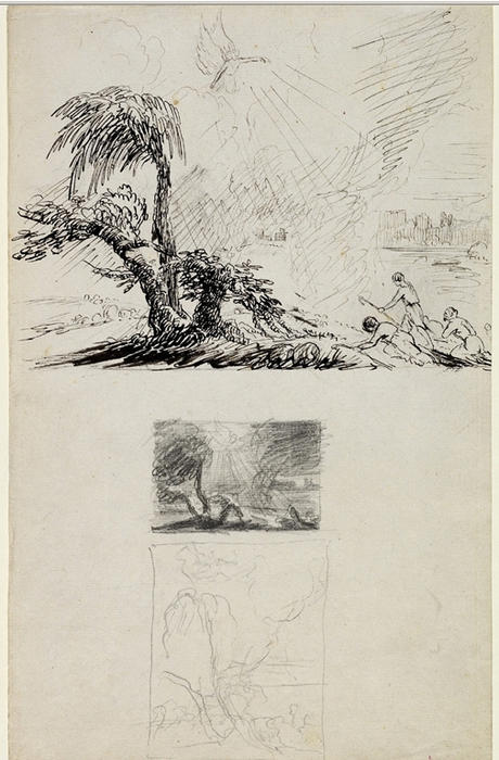 trois sketches pour l' annonciation à l' `shepherds`, dessin de Thomas Cole (1801-1848, United Kingdom)