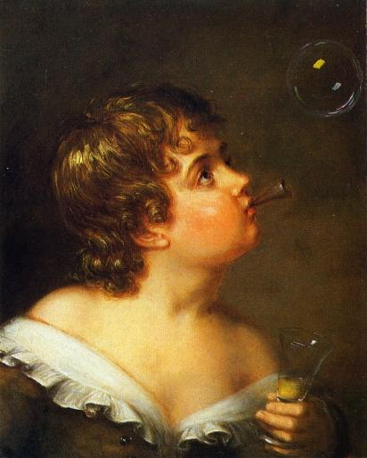 Blowing Bubbles, huile de Charles Bird King (1785-1862, United States)