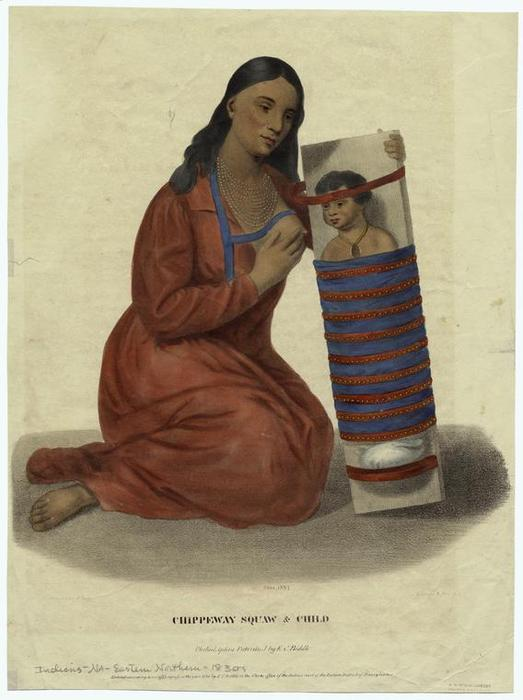 Chippeway squaw et enfant, Huile de Charles Bird King (1785-1862, United States)