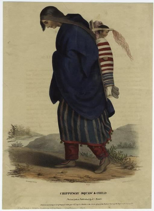 Chippeway [ Chippewa ] squaw & enfant, Huile de Charles Bird King (1785-1862, United States)