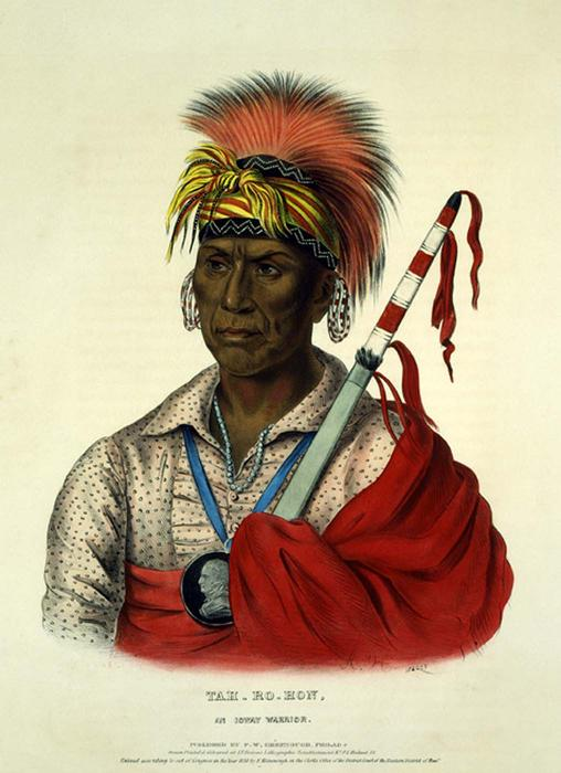 TEH-RO-HON, UN GUERRIER Ioway, huile de Charles Bird King (1785-1862, United States)
