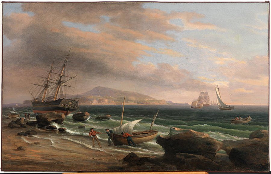 une ample  port , Huile de Thomas Birch (1779-1851, United Kingdom)