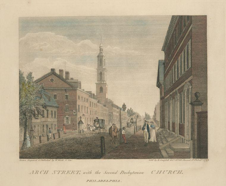 Arch Street, avec la Seconde Eglise presbytérienne. Philadelphie, huile de Thomas Birch (1779-1851, United Kingdom)