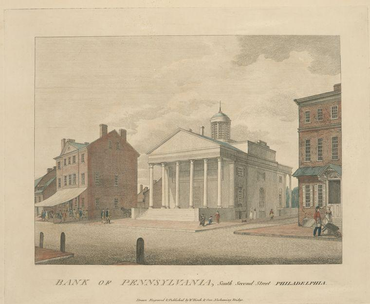 la banque des pennsylvanie austral  seconde  rue  Crême philadelphia , Huile de Thomas Birch (1779-1851, United Kingdom)