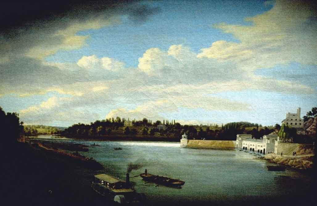 Fairmount Waterworks, huile de Thomas Birch (1779-1851, United Kingdom)