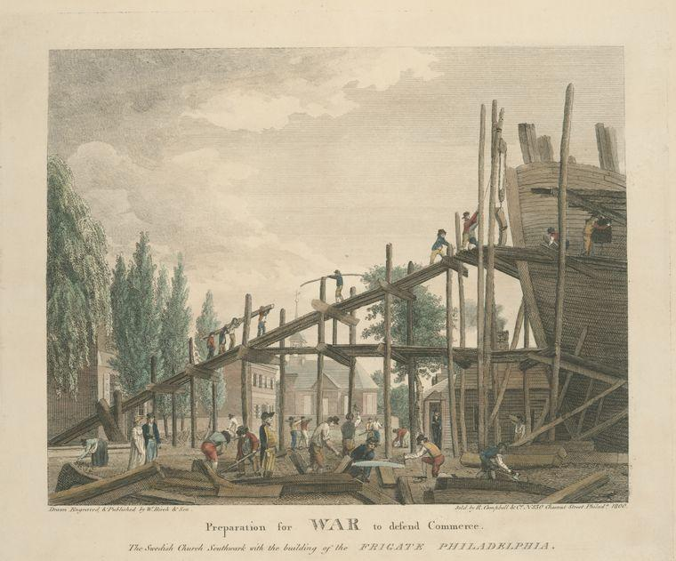 Préparation à la guerre pour défendre le commerce . le suédois eglise southwark avec la construction de la frégate philadelphie, Huile de Thomas Birch (1779-1851, United Kingdom)