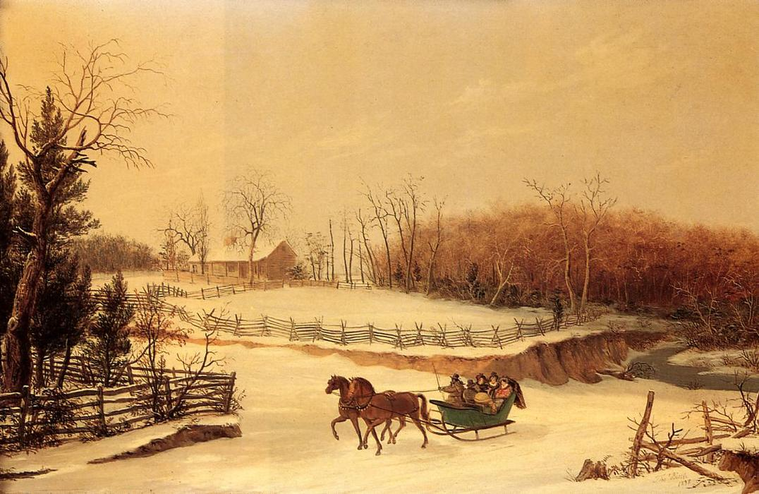 Sleigh Ride, huile sur toile de Thomas Birch (1779-1851, United Kingdom)
