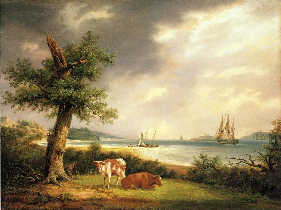 The Narrows, Baie de New York, huile sur panneau de Thomas Birch (1779-1851, United Kingdom)