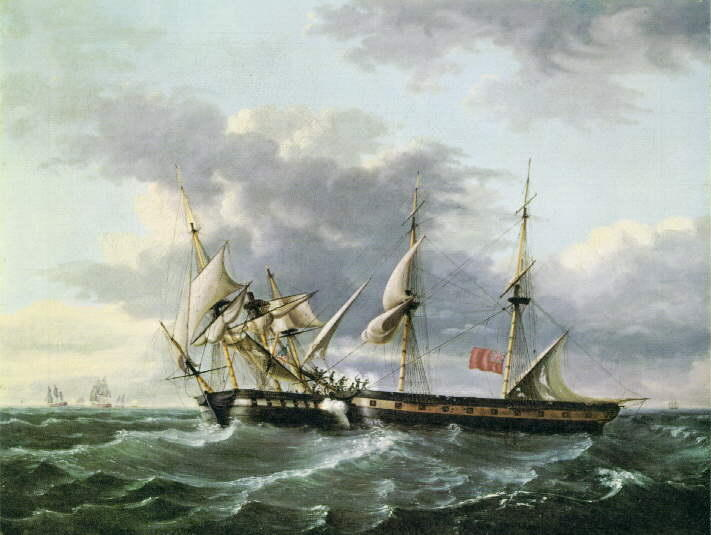 Achat Reproductions D'art Sur Toile : USS WASP embarquement HM Brig FROLIC de Thomas Birch (1779-1851, United Kingdom) | ArtsDot.com