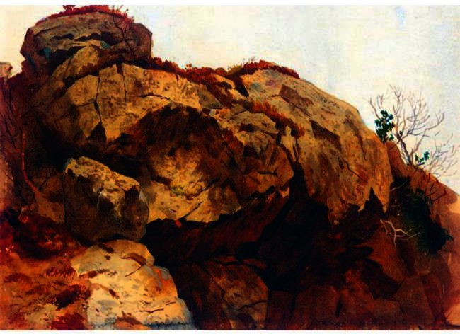 Un Rocky Outcrop, aquarelle de Archibald Thorburn (1860-1935, United Kingdom)
